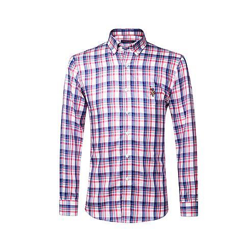 us polo美国马球协会 新品男士商务休闲衬棉质格纹长袖衬衫 桃红格 U030TH