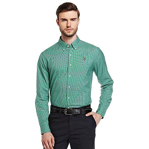 us polo美国马球协会 新品男装纯棉格子休闲衬衫男款长袖 绿色 U028LS