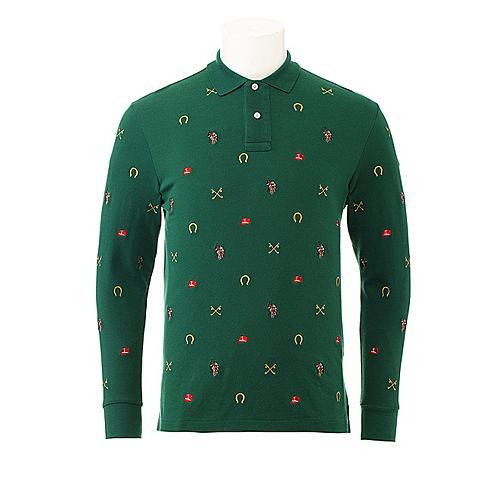 us polo美国马球协会 新款男士商务休闲长袖POLO衫印花纯棉长袖POLO衫 橄榄绿 U031LS