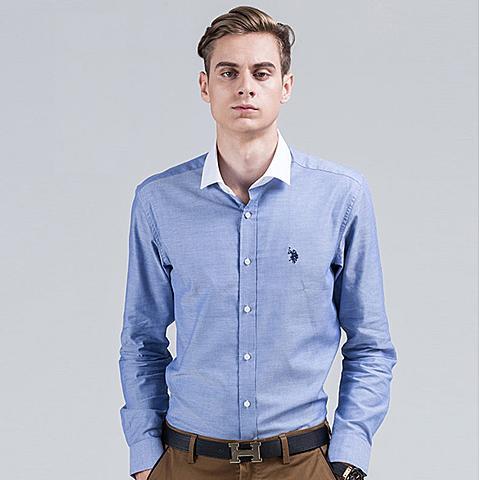 uspolo美国马球协会 新款男士英伦风衬衫 纯色简约纯棉商务休闲长袖衬衫 蓝色 U035LS