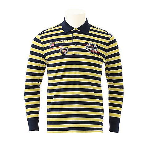 us polo美国马球协会 新品男士长袖POLO衫商务休闲T恤衫条纹舒适T恤衫 黄色条 U032HS