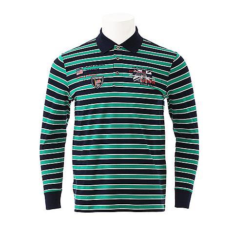 us polo美国马球协会 新品男士长袖POLO衫商务休闲T恤衫条纹舒适T恤衫 绿色条 U032LS