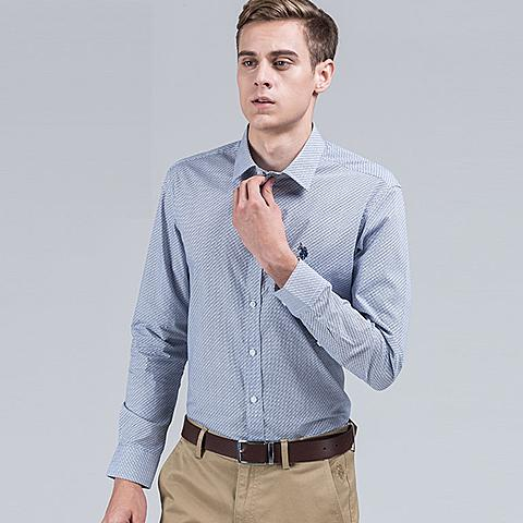 uspolo美国马球协会 新品男士长袖衬衫商务休闲衬衫纯棉保暖衬衣 蓝色 U034LS
