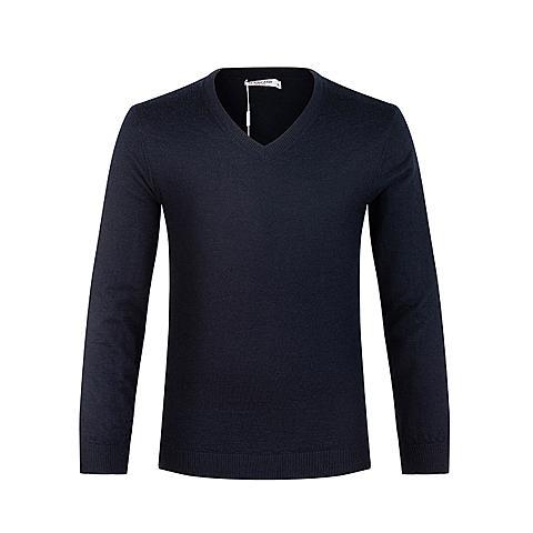 us polo美国马球协会男装男士长袖V领针织衫羊毛衫纯色保暖舒适针织衫 蓝色 U056LS