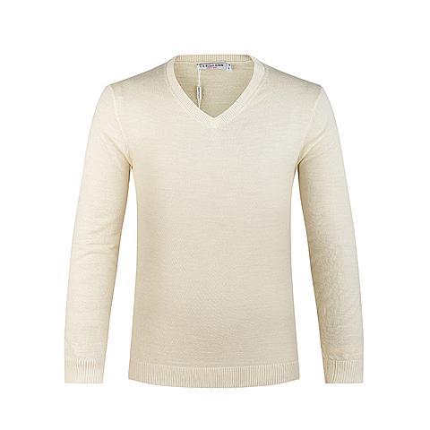 us polo美国马球协会男装 男士长袖V领针织衫羊毛衫纯色保暖舒适针织衫 米白 U056MS
