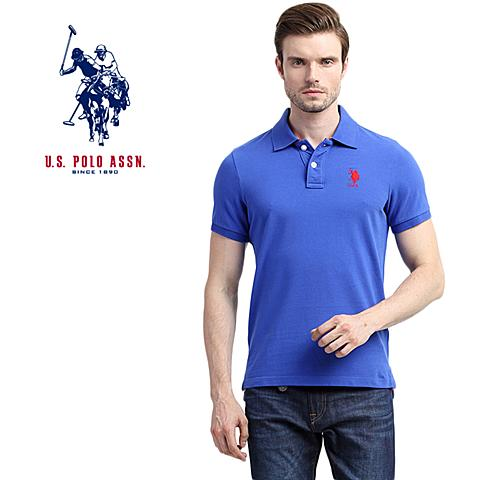 us polo美国马球协会 新款男士纯棉短袖T恤吸汗透气男休闲短袖POLO衫 蓝色 U060LS