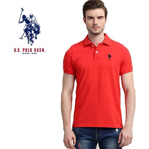 us polo美国马球协会 新款男士纯棉短袖T恤吸汗透气男休闲短袖POLO衫 红色 U060HS