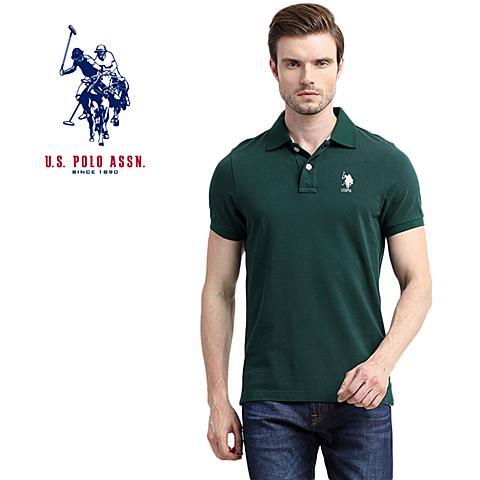 us polo美国马球协会 新款男士纯棉短袖T恤吸汗透气男休闲短袖POLO衫 墨绿色 U060ML