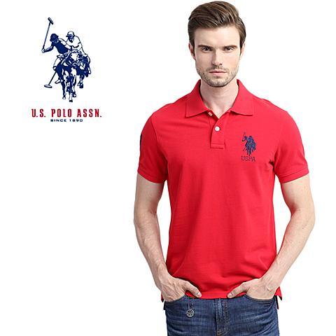 us polo美国马球协会 新款男士Polo衫男装纯棉翻领T恤多色可选保罗衫 红色 U061HS