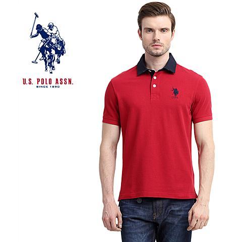 us polo美国马球协会 新款短袖翻领T恤纯棉男式休闲舒适短袖POLO衫 深红色 U064SH